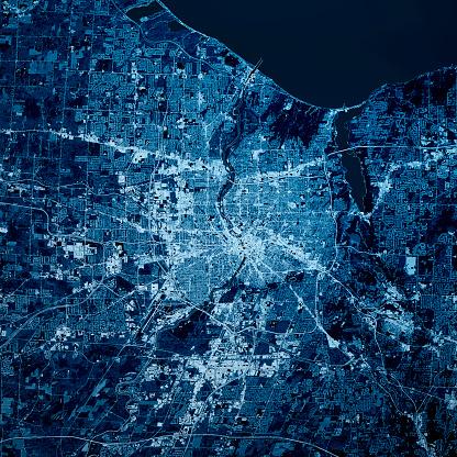 Digital Composite「Rochester New York 3D Render Map Blue Top View Oct 2019」:スマホ壁紙(3)