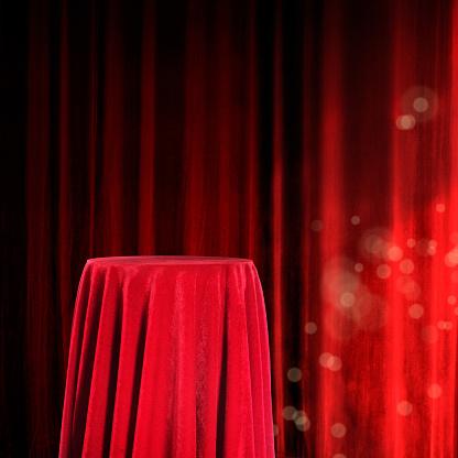 Velvet「copy space of elegant red velvet pedestal」:スマホ壁紙(6)