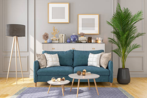 Living Room Interior With Picture Frame On Gray Walls:スマホ壁紙(壁紙.com)