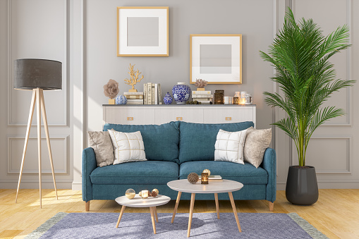 Design Professional「Living Room Interior With Picture Frame On Gray Walls」:スマホ壁紙(2)