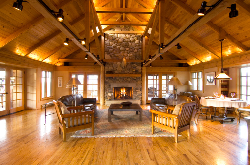 Log Cabin「Living room and stone fireplace in cabin」:スマホ壁紙(16)