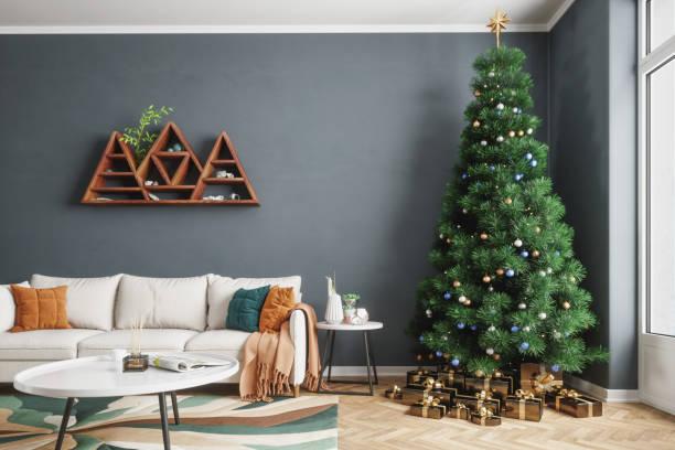 Living Room And Christmas Tree:スマホ壁紙(壁紙.com)