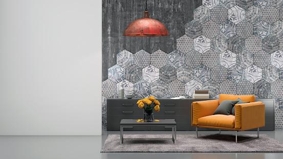 Hexagon「Living room interior with orange armchair」:スマホ壁紙(1)