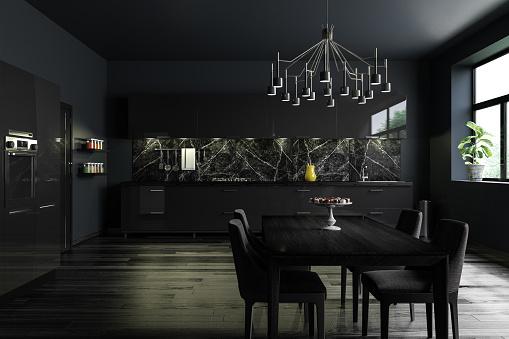 Chandelier「Black Modern Kitchen Interior」:スマホ壁紙(11)