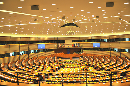 Government Building「Empty European Parliament Assembly Room, Brussels, Belgium」:スマホ壁紙(19)