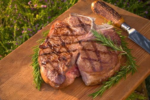 Porterhouse Steak「Barbeque Grilled Meat; Cooked Porterhouse T-Bone Beef Steak & Rosemary」:スマホ壁紙(5)