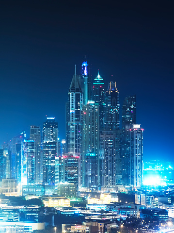 Dubai「Skyscrapers of Dubai Marina at night」:スマホ壁紙(2)