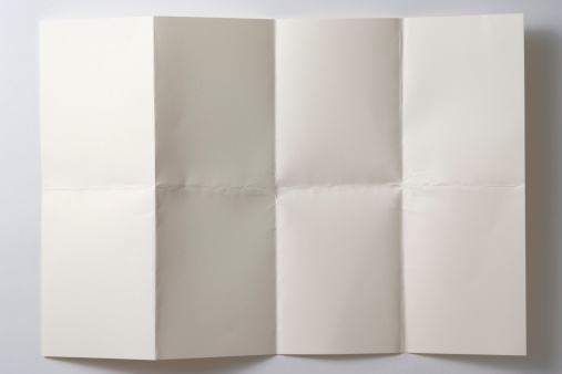 Wrinkled「Opened a folded paper on white background with shadow」:スマホ壁紙(18)