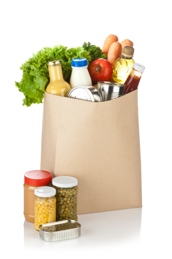 Supermarket「Brown bag full of groceries sits on white background」:スマホ壁紙(11)