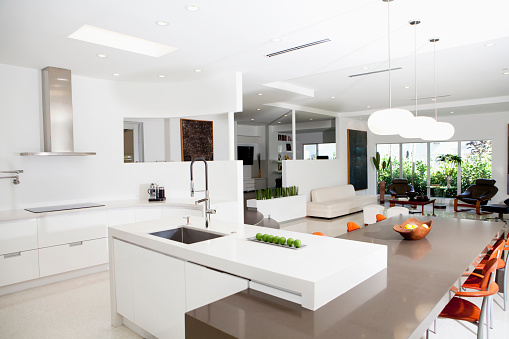Kitchen Island「Counters, tables and chairs in modern living space」:スマホ壁紙(19)