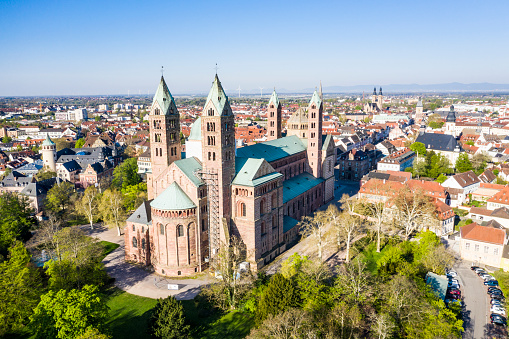 Cathedral「Germany, Speyer, Aerial view of Speyer Cathedral」:スマホ壁紙(7)