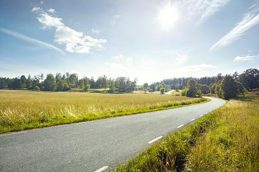 Agricultural Field「Empty road through fields」:スマホ壁紙(17)
