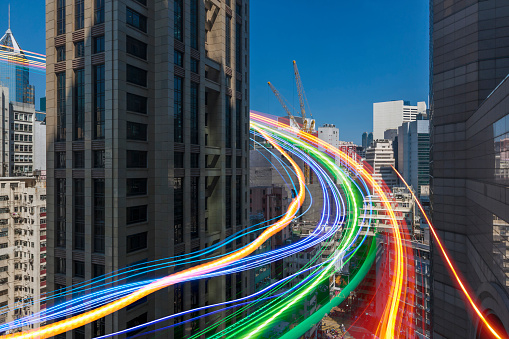 Digital Composite「Blurred view of light trails in cityscape」:スマホ壁紙(19)
