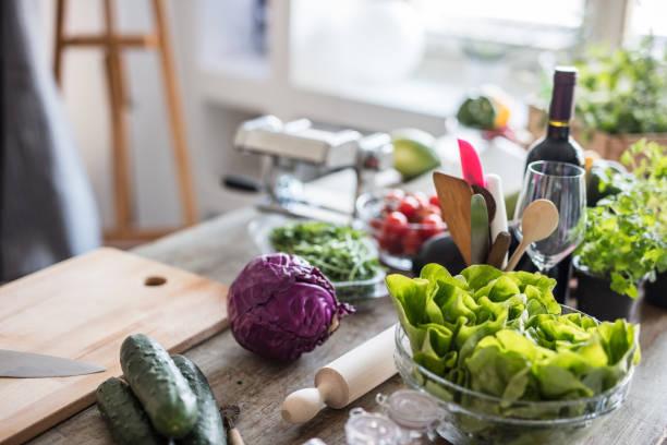 Various vegetables on kitchen counter:スマホ壁紙(壁紙.com)