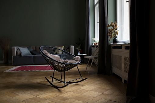 Curtain「Rocking chair in a modern living room」:スマホ壁紙(9)