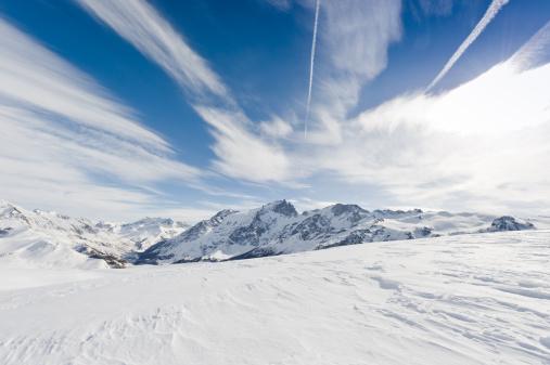 Ski Slope「High mountain landscape with sun」:スマホ壁紙(18)