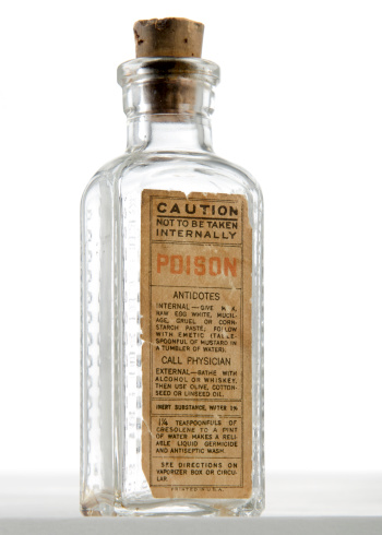 Poisonous「Antique Poison Bottle with Cork Stopper Isolated on White」:スマホ壁紙(11)