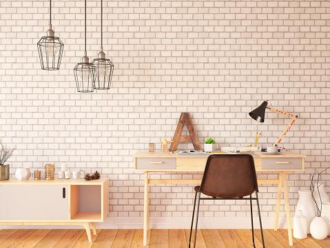 Laptop「Indoor Workspace with Plants and Desk」:スマホ壁紙(9)