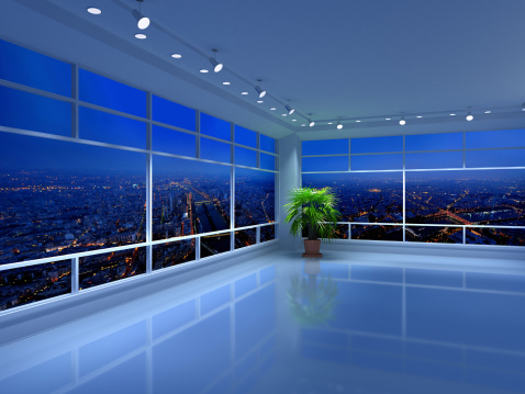 Cityscape「Floor to ceiling city views from an all-white penthouse」:スマホ壁紙(2)