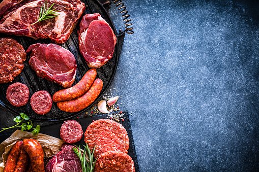 Beef「Various cuts of raw meat shot from above on a cast iron grill with copy space」:スマホ壁紙(1)