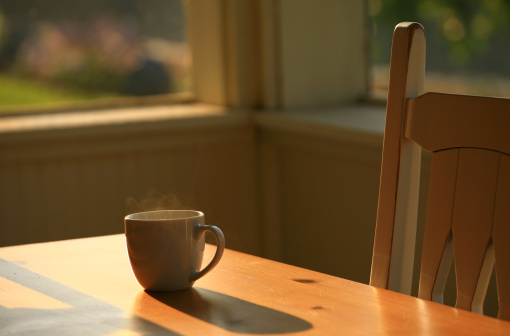 Hot Drink「Steaming Morning Coffee on Porch Table」:スマホ壁紙(19)