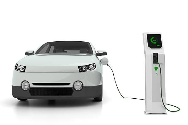 Electric car plugged into the charging station:スマホ壁紙(壁紙.com)