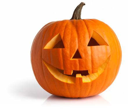 Jack-o'-lantern「Freshly Carved Jack-o-Lantern Pumpkin Isolated on White」:スマホ壁紙(1)