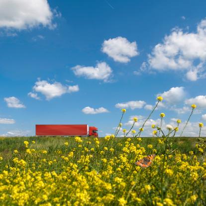 Motorized Vehicle Riding「Red truck in dutch landscape」:スマホ壁紙(11)