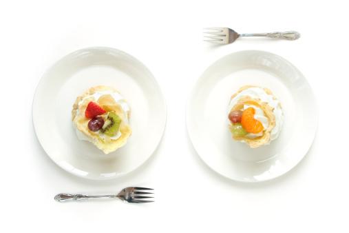 Dessert「Two White Plates with Cream Puffs Eclairs」:スマホ壁紙(10)