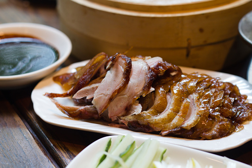 Chinese Culture「Beijing roasted sliced duck dinner on white plate with sides」:スマホ壁紙(6)