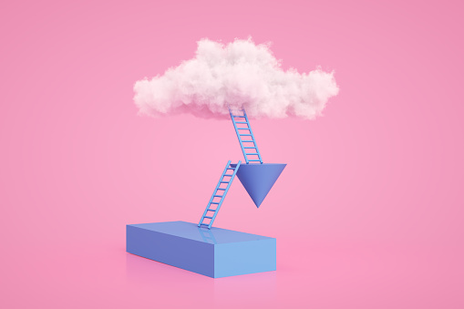 Success「Stairs to the clouds, Ladder of Success Concept」:スマホ壁紙(10)