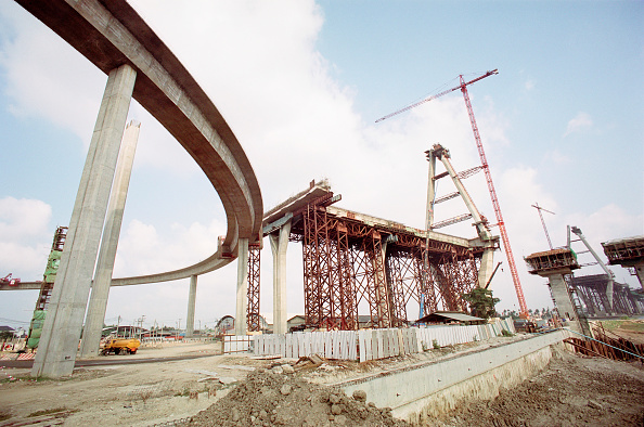 Business Finance and Industry「Central interchange curved ramps with north bridge of the Mega Bridge over the Chao Phraya river in background.  Bangkok Southern Industrial road, Thailand」:写真・画像(18)[壁紙.com]