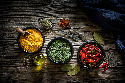 Recipe「Spices: Turmeric, chili peppers and dried parsley shot from above」:スマホ壁紙(8)