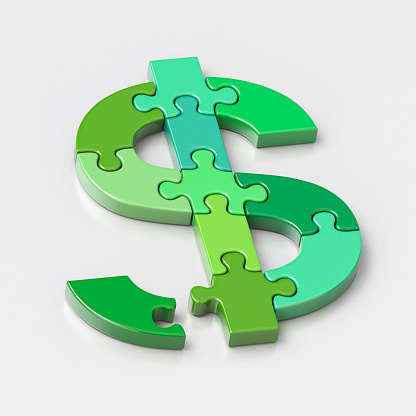 Currency Symbol「Dollar symbol jigsaw puzzle, one piece out of place」:スマホ壁紙(4)