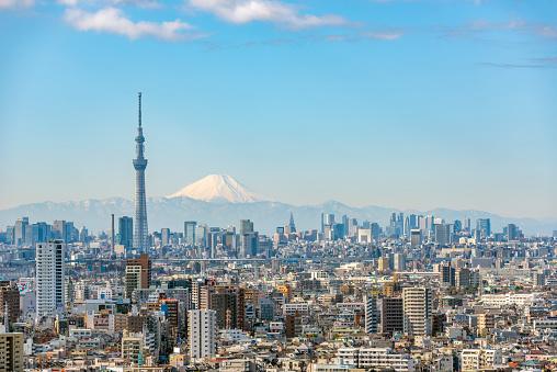 富士山「Tokyo Sky Tree and Mt Fuji」:スマホ壁紙(16)