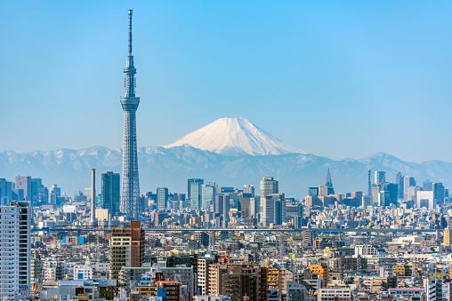 富士山「Tokyo Sky Tree and Mt Fuji」:スマホ壁紙(17)
