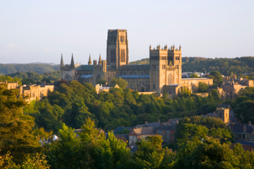 Cathedral「View to the cathedral at sunset, Durham, England」:スマホ壁紙(10)