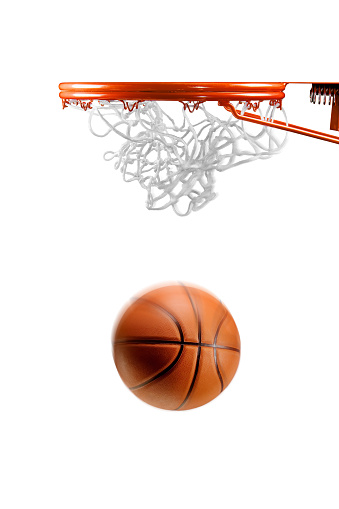 Aspirations「Basketball hoop net and ball on white」:スマホ壁紙(9)
