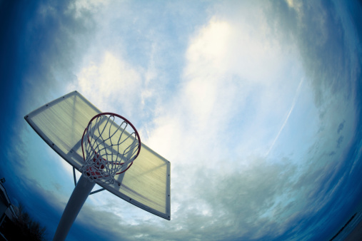 Dribbling - Sports「Basketball Hoop and Dramatic Sky, Wide Angle」:スマホ壁紙(15)