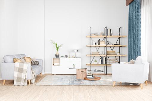 Shelf「Bookshelf, armchair and sofa in living room」:スマホ壁紙(1)