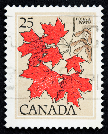 Postage Stamp「A Canadian stamp with red maple leaves」:スマホ壁紙(14)