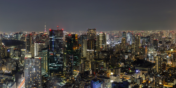 Tokyo Tower「Panoramic aerial of the skyscrapers and crowded cityscape of central Tokyo from Roppongi Hills, Japan's capital city.」:スマホ壁紙(19)