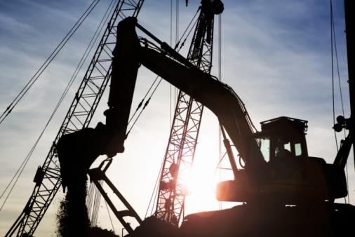 Construction Vehicle「Digger on building site」:スマホ壁紙(3)