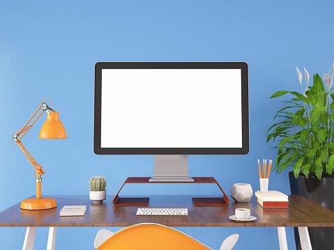 Digital Tablet「Workspace with Blank Computer Screen」:スマホ壁紙(15)