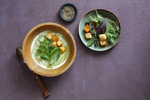 Sour Cream「Leek, Broccoli And Kale Soup With Croutons」:スマホ壁紙(18)