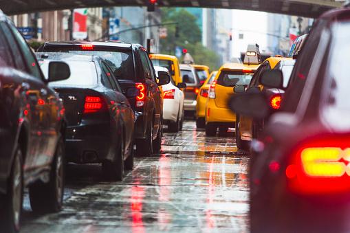 Roadblock「USA, New York State, New York City, Manhattan, Car traffic」:スマホ壁紙(17)