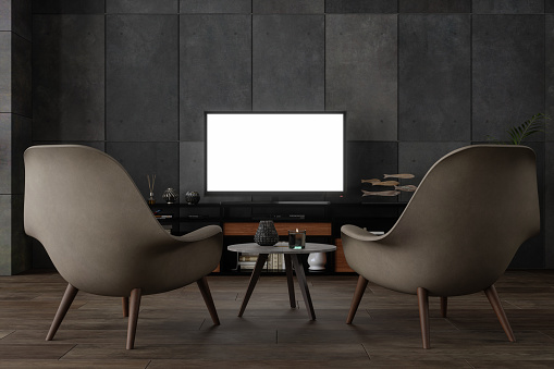 Art and Craft Product「Black Smart Tv Mockup On Wooden Cabinet」:スマホ壁紙(3)