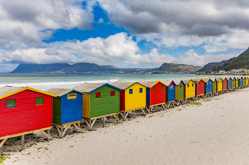 South Africa「Elevated view of beach huts in Muizenberg Beach, Cape Town, South Africa」:スマホ壁紙(0)