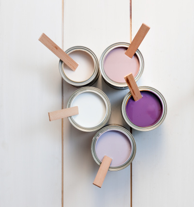 Five Objects「cans with purple, pink, white and lavender paint」:スマホ壁紙(8)