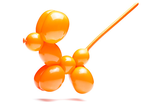 Flexibility「An orange dog with a long tail made out of a balloon」:スマホ壁紙(3)
